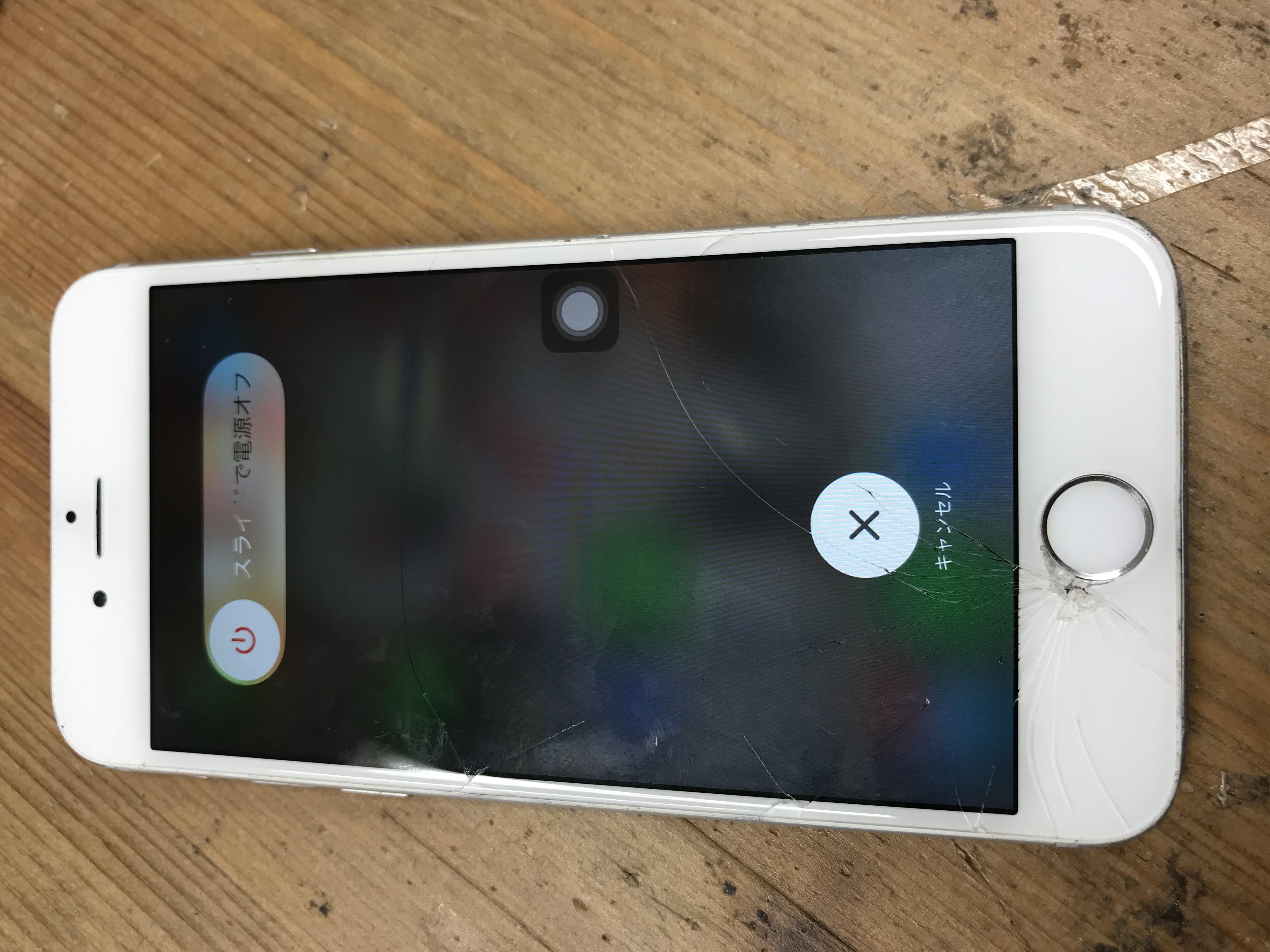 修理前:ガラス割れしたiPhone6の画面交換修理をしました。