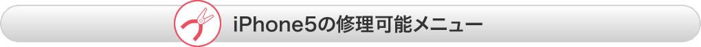 iPhone5の修理可能メニュー